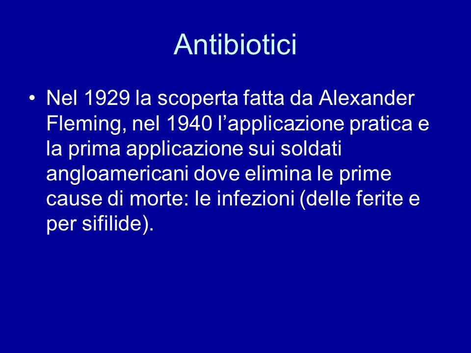 Antibiotici Nel 1929 la scoperta fatta da Alexander Fleming, nel 1940 l'applicazione pratica e la prima applicazione sui soldati angloamericani dove e