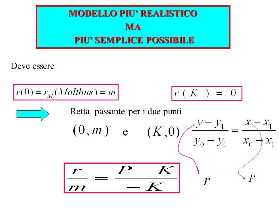 Retta passante per i due punti Deve essere: e MODELLO PIU' REALISTICO MA PIU' SEMPLICE POSSIBILE PIU' SEMPLICE POSSIBILE