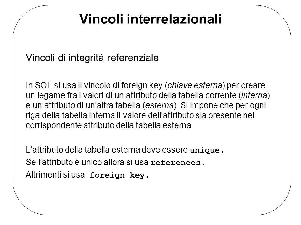 Vincoli interrelazionali Vincoli di integrità referenziale In SQL si usa il vincolo di foreign key (chiave esterna) per creare un legame fra i valori di un attributo della tabella corrente (interna) e un attributo di un'altra tabella (esterna).