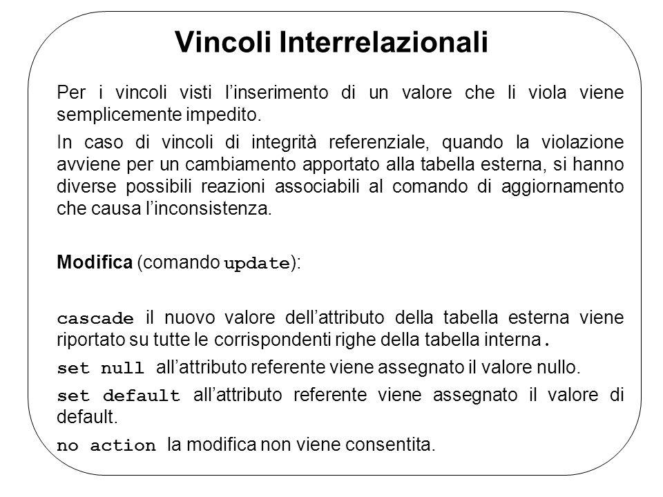 Vincoli Interrelazionali Cancellazione (comando delete ): cascade tutte le corrispondenti righe della tabella interna vengono cancellate.