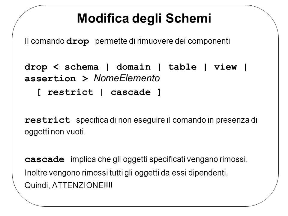 Modifica degli Schemi Il comando drop permette di rimuovere dei componenti drop NomeElemento [ restrict | cascade ] restrict specifica di non eseguire il comando in presenza di oggetti non vuoti.