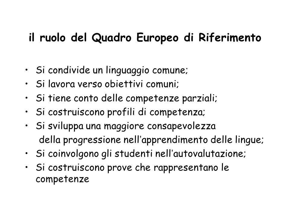 il ruolo del Quadro Europeo di Riferimento Si condivide un linguaggio comune; Si lavora verso obiettivi comuni; Si tiene conto delle competenze parziali; Si costruiscono profili di competenza; Si sviluppa una maggiore consapevolezza della progressione nell ' apprendimento delle lingue; Si coinvolgono gli studenti nell ' autovalutazione; Si costruiscono prove che rappresentano le competenze