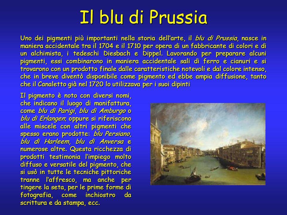 Il blu di Prussia Uno dei pigmenti più importanti nella storia dell'arte, il blu di Prussia, nasce in maniera accidentale tra il 1704 e il 1710 per opera di un fabbricante di colori e di un alchimista, i tedeschi Diesbach e Dippel.