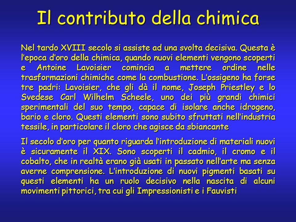 Il contributo della chimica Nel tardo XVIII secolo si assiste ad una svolta decisiva. Questa è l'epoca d'oro della chimica, quando nuovi elementi veng