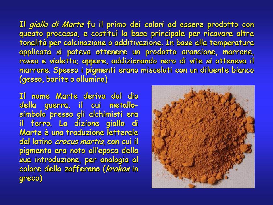 Il giallo di Marte fu il primo dei colori ad essere prodotto con questo processo, e costituì la base principale per ricavare altre tonalità per calcinazione o additivazione.