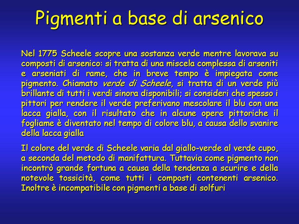 Pigmenti a base di arsenico Nel 1775 Scheele scopre una sostanza verde mentre lavorava su composti di arsenico: si tratta di una miscela complessa di arseniti e arseniati di rame, che in breve tempo è impiegata come pigmento.