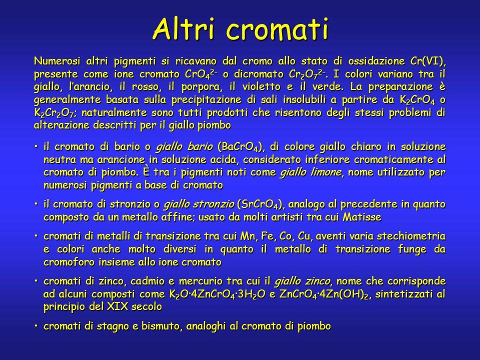 Altri cromati Numerosi altri pigmenti si ricavano dal cromo allo stato di ossidazione Cr(VI), presente come ione cromato CrO 4 2- o dicromato Cr 2 O 7 2-.