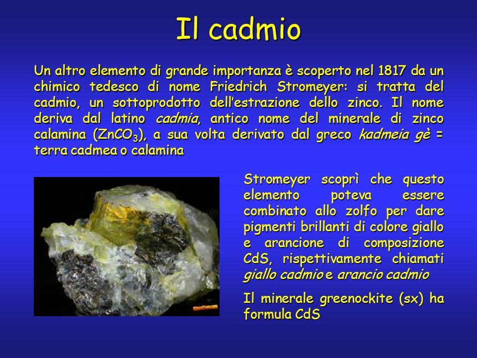 Il cadmio Un altro elemento di grande importanza è scoperto nel 1817 da un chimico tedesco di nome Friedrich Stromeyer: si tratta del cadmio, un sottoprodotto dell'estrazione dello zinco.