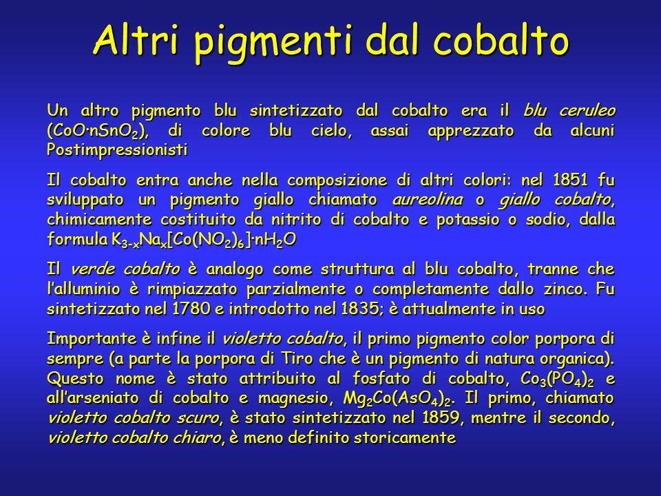 Altri pigmenti dal cobalto Un altro pigmento blu sintetizzato dal cobalto era il blu ceruleo (CoO·nSnO 2 ), di colore blu cielo, assai apprezzato da alcuni Postimpressionisti Il cobalto entra anche nella composizione di altri colori: nel 1851 fu sviluppato un pigmento giallo chiamato aureolina o giallo cobalto, chimicamente costituito da nitrito di cobalto e potassio o sodio, dalla formula K 3-x Na x [Co(NO 2 ) 6 ]·nH 2 O Il verde cobalto è analogo come struttura al blu cobalto, tranne che l'alluminio è rimpiazzato parzialmente o completamente dallo zinco.