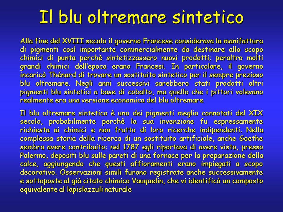 Il blu oltremare sintetico Alla fine del XVIII secolo il governo Francese considerava la manifattura di pigmenti così importante commercialmente da destinare allo scopo chimici di punta perchè sintetizzassero nuovi prodotti; peraltro molti grandi chimici dell'epoca erano Francesi.