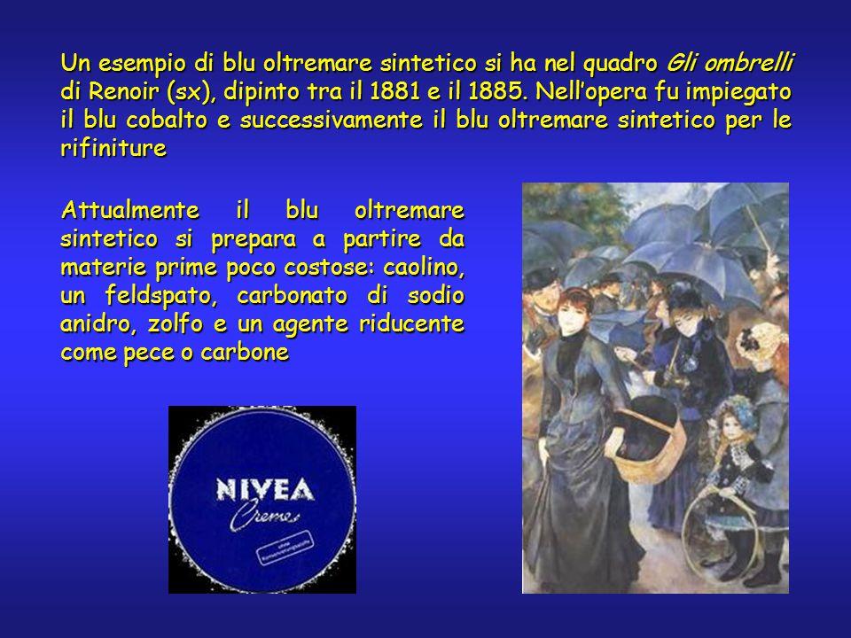 Un esempio di blu oltremare sintetico si ha nel quadro Gli ombrelli di Renoir (sx), dipinto tra il 1881 e il 1885. Nell'opera fu impiegato il blu coba