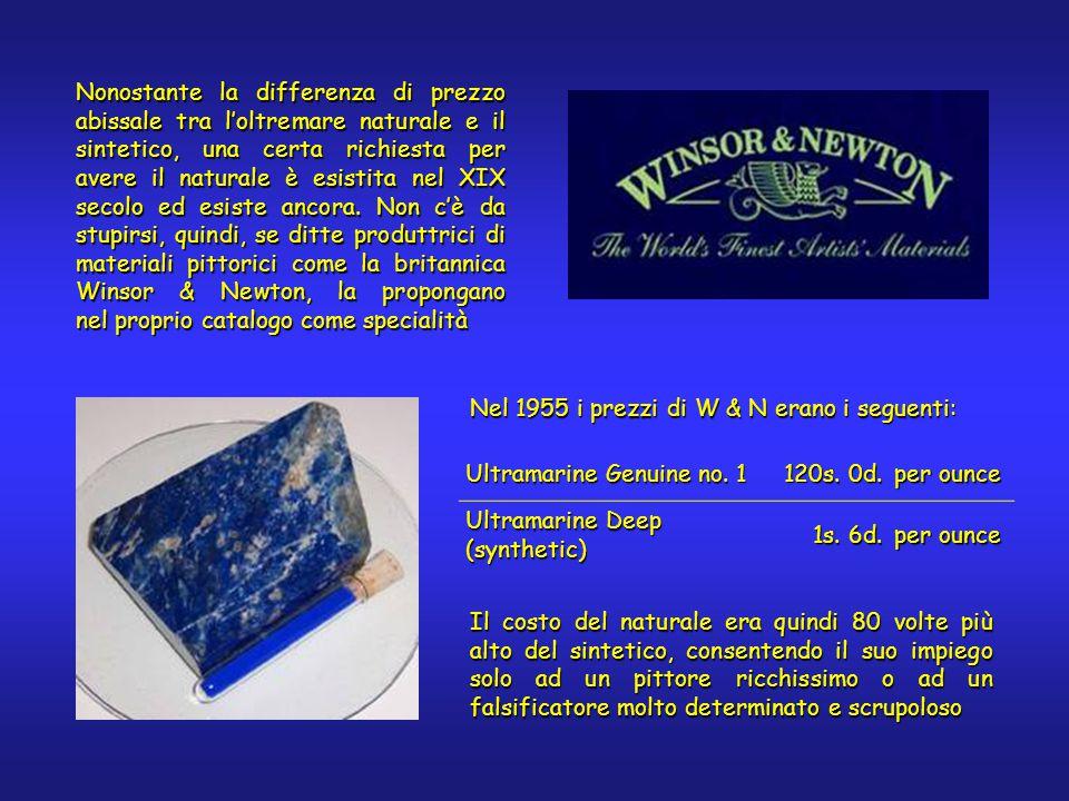 Ultramarine Genuine no. 1 120s. 0d. per ounce Ultramarine Deep (synthetic) 1s. 6d. per ounce Nel 1955 i prezzi di W & N erano i seguenti: Il costo del
