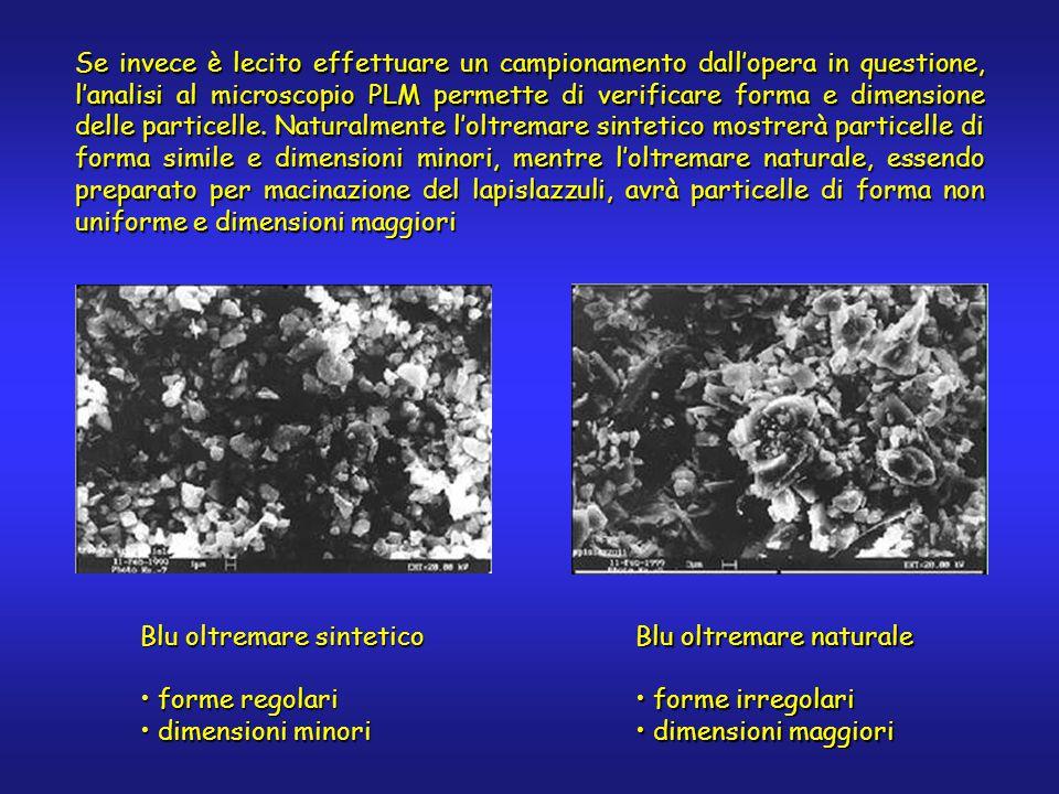 Blu oltremare naturale forme irregolari forme irregolari dimensioni maggiori dimensioni maggiori Blu oltremare sintetico forme regolari forme regolari dimensioni minori dimensioni minori Se invece è lecito effettuare un campionamento dall'opera in questione, l'analisi al microscopio PLM permette di verificare forma e dimensione delle particelle.