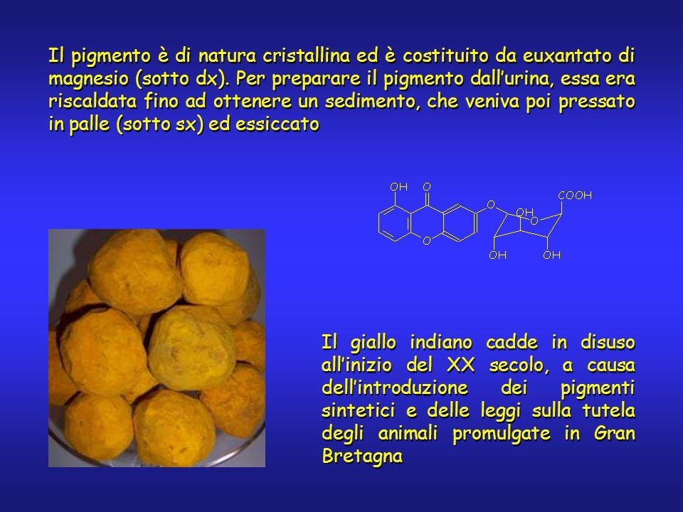 Il pigmento è di natura cristallina ed è costituito da euxantato di magnesio (sotto dx). Per preparare il pigmento dall'urina, essa era riscaldata fin