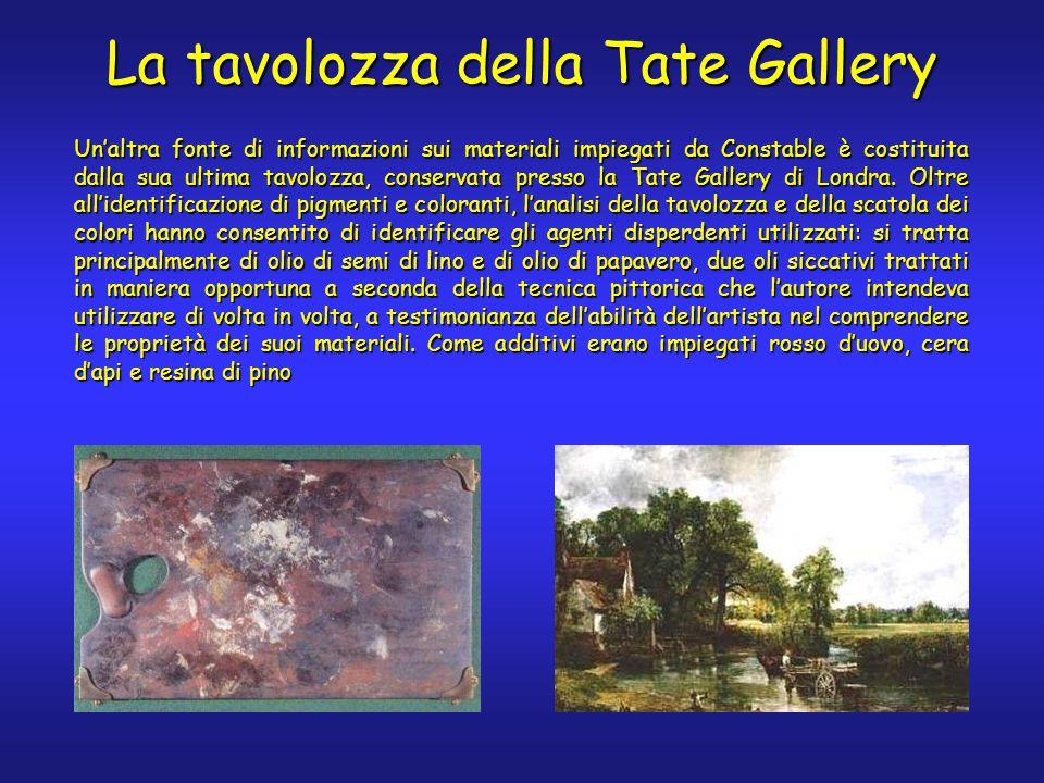 Un'altra fonte di informazioni sui materiali impiegati da Constable è costituita dalla sua ultima tavolozza, conservata presso la Tate Gallery di Lond