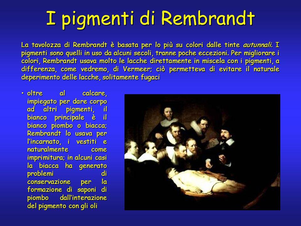 I pigmenti di Rembrandt La tavolozza di Rembrandt è basata per lo più su colori dalle tinte autunnali. I pigmenti sono quelli in uso da alcuni secoli,