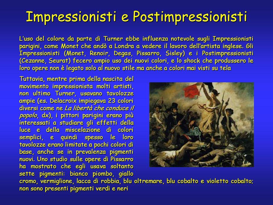 Impressionisti e Postimpressionisti L'uso del colore da parte di Turner ebbe influenza notevole sugli Impressionisti parigini, come Monet che andò a Londra a vedere il lavoro dell'artista inglese.