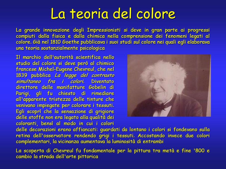 La teoria del colore La grande innovazione degli Impressionisti si deve in gran parte ai progressi compiuti dalla fisica e dalla chimica nella comprensione dei fenomeni legati al colore.
