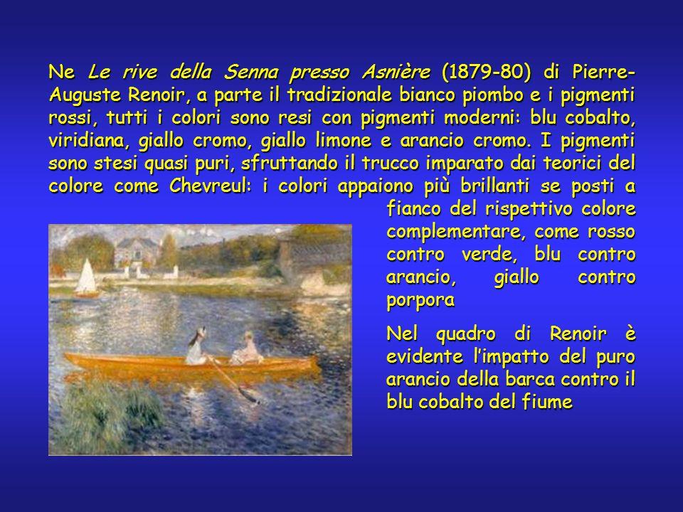 Ne Le rive della Senna presso Asnière (1879-80) di Pierre- Auguste Renoir, a parte il tradizionale bianco piombo e i pigmenti rossi, tutti i colori sono resi con pigmenti moderni: blu cobalto, viridiana, giallo cromo, giallo limone e arancio cromo.