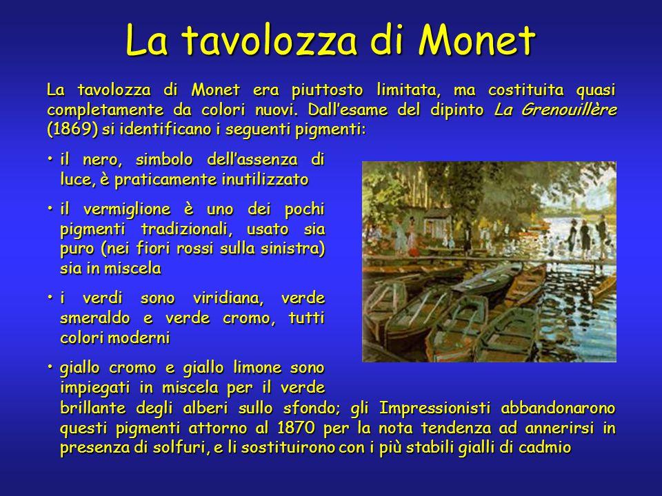 La tavolozza di Monet La tavolozza di Monet era piuttosto limitata, ma costituita quasi completamente da colori nuovi. Dall'esame del dipinto La Greno
