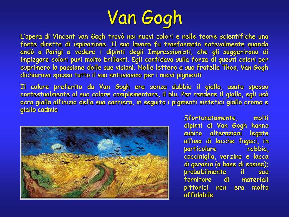 Van Gogh L'opera di Vincent van Gogh trovò nei nuovi colori e nelle teorie scientifiche una fonte diretta di ispirazione. Il suo lavoro fu trasformato