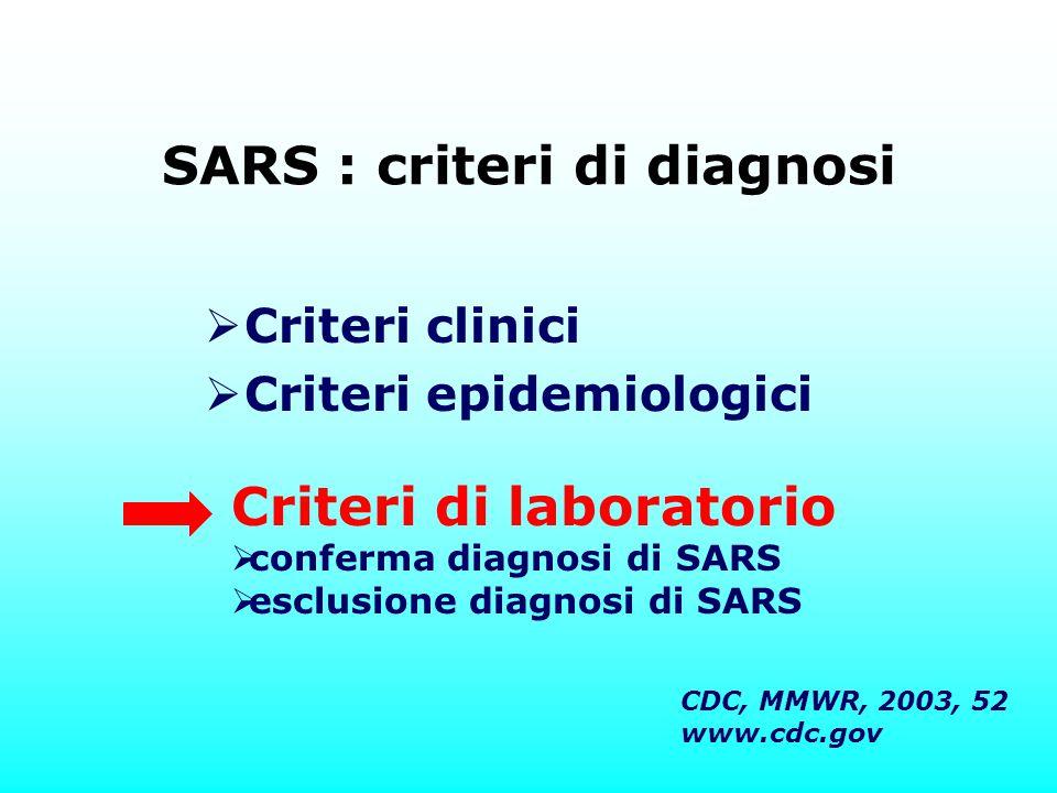 SARS : criteri di diagnosi  Criteri clinici  Criteri epidemiologici Criteri di laboratorio  conferma diagnosi di SARS  esclusione diagnosi di SARS