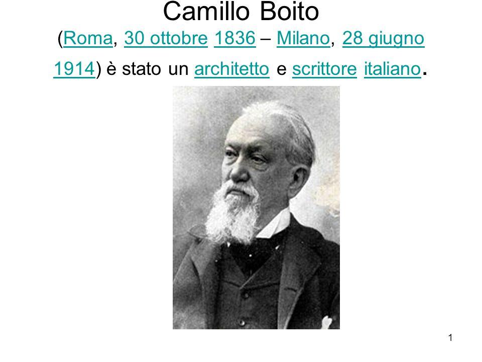 1 Camillo Boito (Roma, 30 ottobre 1836 – Milano, 28 giugno 1914) è stato un architetto e scrittore italiano.Roma30 ottobre1836Milano28 giugno 1914architettoscrittoreitaliano
