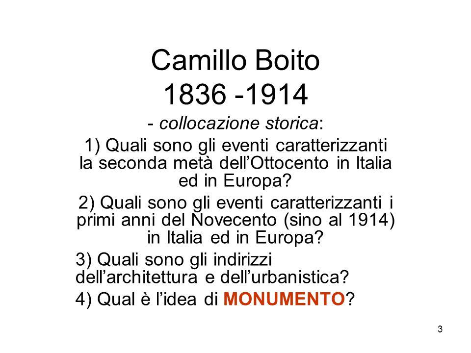 4 Camillo Boito 4) Qual è l'idea di MONUMENTO .