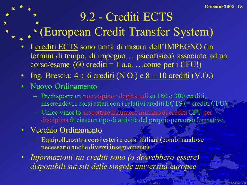 Erasmus 200515 9.2 - Crediti ECTS (European Credit Transfer System) I crediti ECTS sono unità di misura dell'IMPEGNO (in termini di tempo, di impegno… psicofisico) associato ad un corso/esame (60 crediti = 1 a.a.