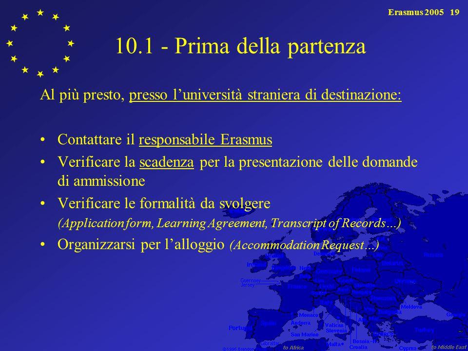 Erasmus 200519 10.1 - Prima della partenza Al più presto, presso l'università straniera di destinazione: Contattare il responsabile Erasmus Verificare la scadenza per la presentazione delle domande di ammissione Verificare le formalità da svolgere (Application form, Learning Agreement, Transcript of Records…) Organizzarsi per l'alloggio (Accommodation Request…)
