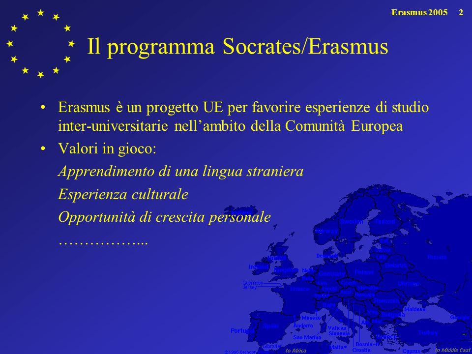 Erasmus 20052 Il programma Socrates/Erasmus Erasmus è un progetto UE per favorire esperienze di studio inter-universitarie nell'ambito della Comunità Europea Valori in gioco: Apprendimento di una lingua straniera Esperienza culturale Opportunità di crescita personale ……………...