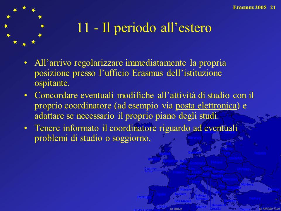 Erasmus 200521 11 - Il periodo all'estero All'arrivo regolarizzare immediatamente la propria posizione presso l'ufficio Erasmus dell'istituzione ospitante.