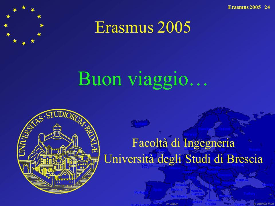 Erasmus 200524 Erasmus 2005 Buon viaggio… Facoltà di Ingegneria Università degli Studi di Brescia