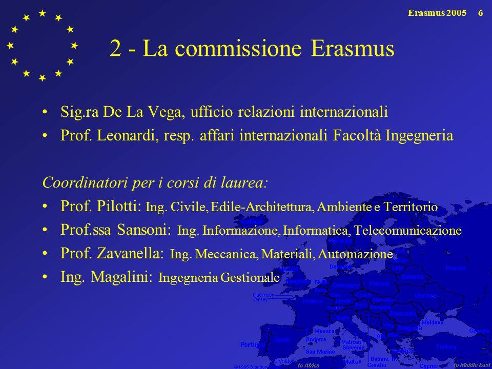 Erasmus 20057 3 - Sedi universitarie europee convenzionate con Ingegneria Ben 32 università convenzionate.
