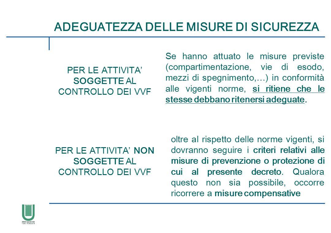 ADEGUATEZZA DELLE MISURE DI SICUREZZA PER LE ATTIVITA' SOGGETTE AL CONTROLLO DEI VVF Se hanno attuato le misure previste (compartimentazione, vie di e