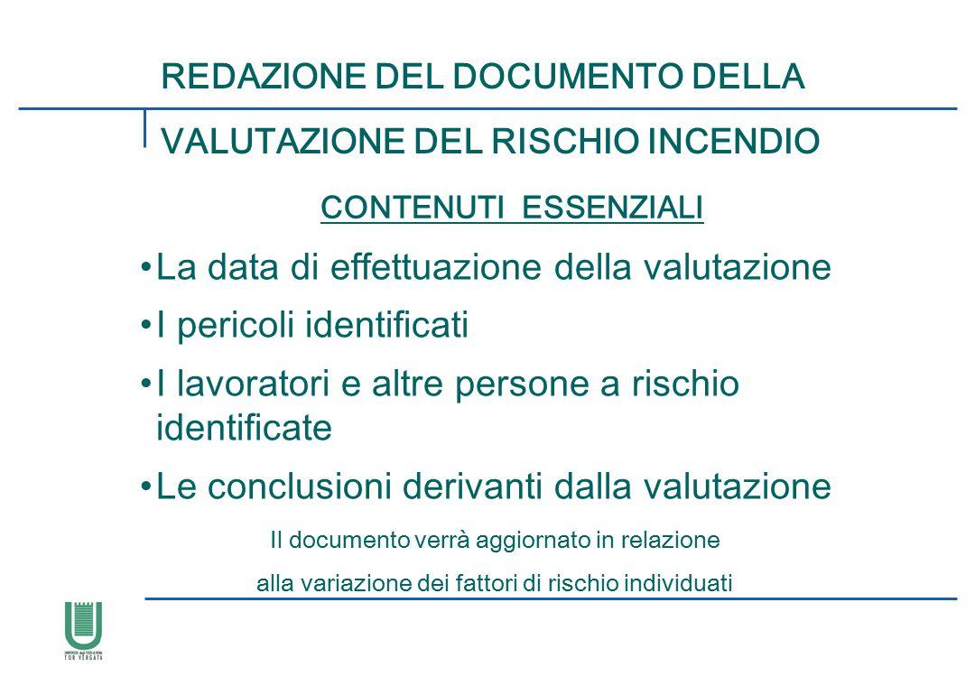REDAZIONE DEL DOCUMENTO DELLA CONTENUTI ESSENZIALI La data di effettuazione della valutazione I pericoli identificati I lavoratori e altre persone a r