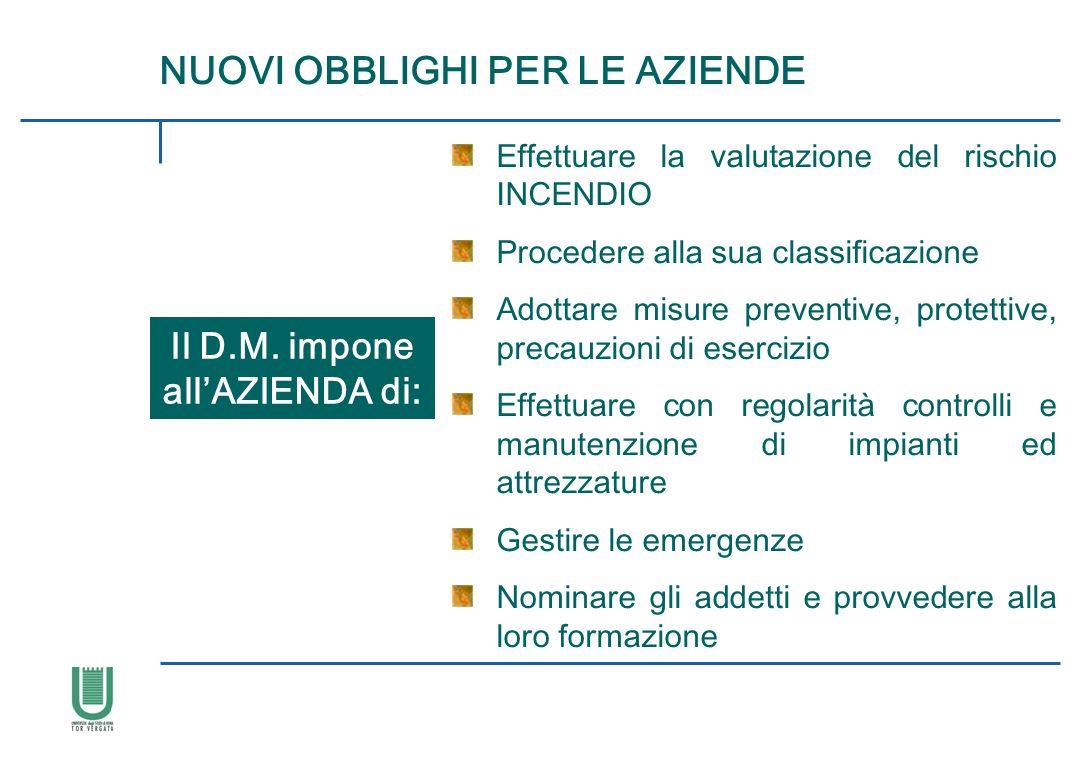 NUOVI OBBLIGHI PER LE AZIENDE Il D.M. impone all'AZIENDA di: Effettuare la valutazione del rischio INCENDIO Procedere alla sua classificazione Adottar