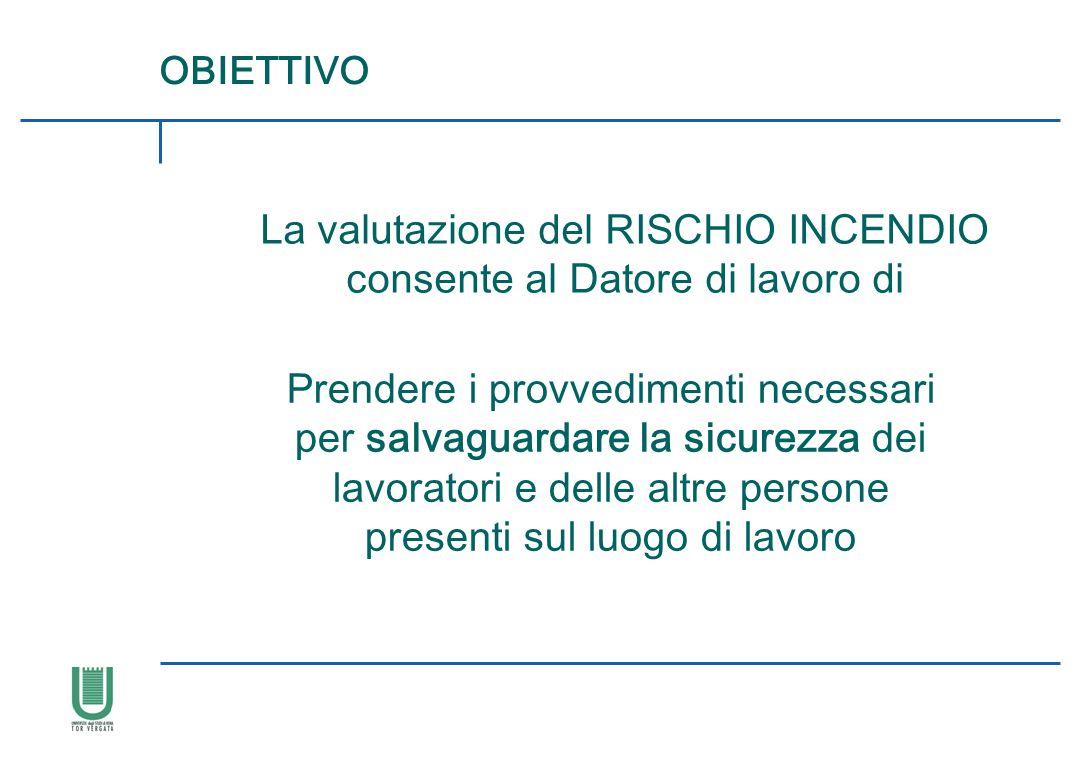 OBIETTIVO La valutazione del RISCHIO INCENDIO consente al Datore di lavoro di Prendere i provvedimenti necessari per salvaguardare la sicurezza dei la
