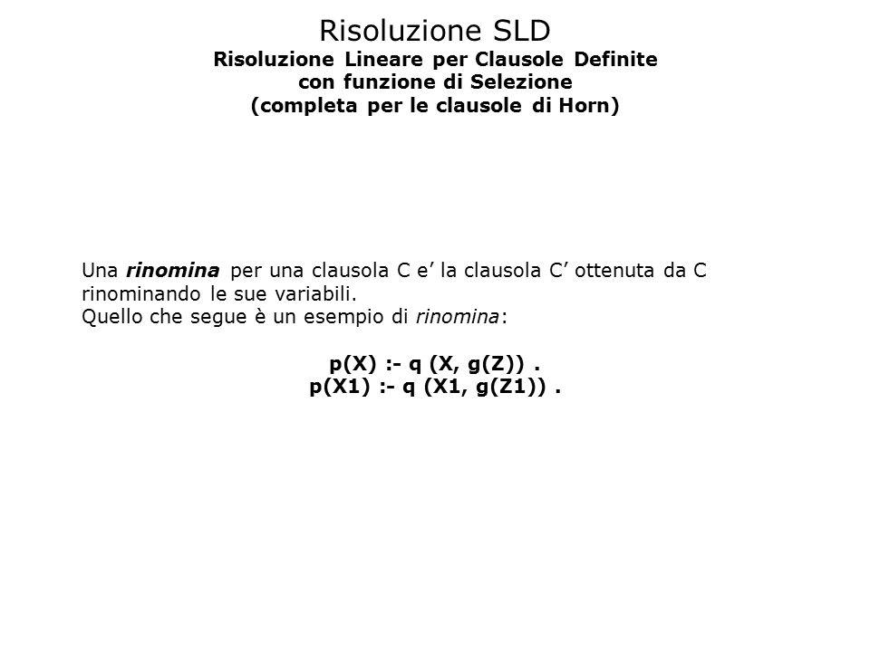 Risoluzione SLD Risoluzione Lineare per Clausole Definite con funzione di Selezione (completa per le clausole di Horn) Una rinomina per una clausola C e' la clausola C' ottenuta da C rinominando le sue variabili.