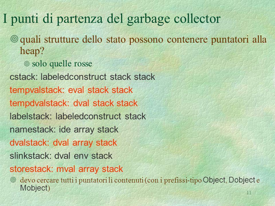 11 I punti di partenza del garbage collector ¥quali strutture dello stato possono contenere puntatori alla heap? ¥ solo quelle rosse cstack: labeledco