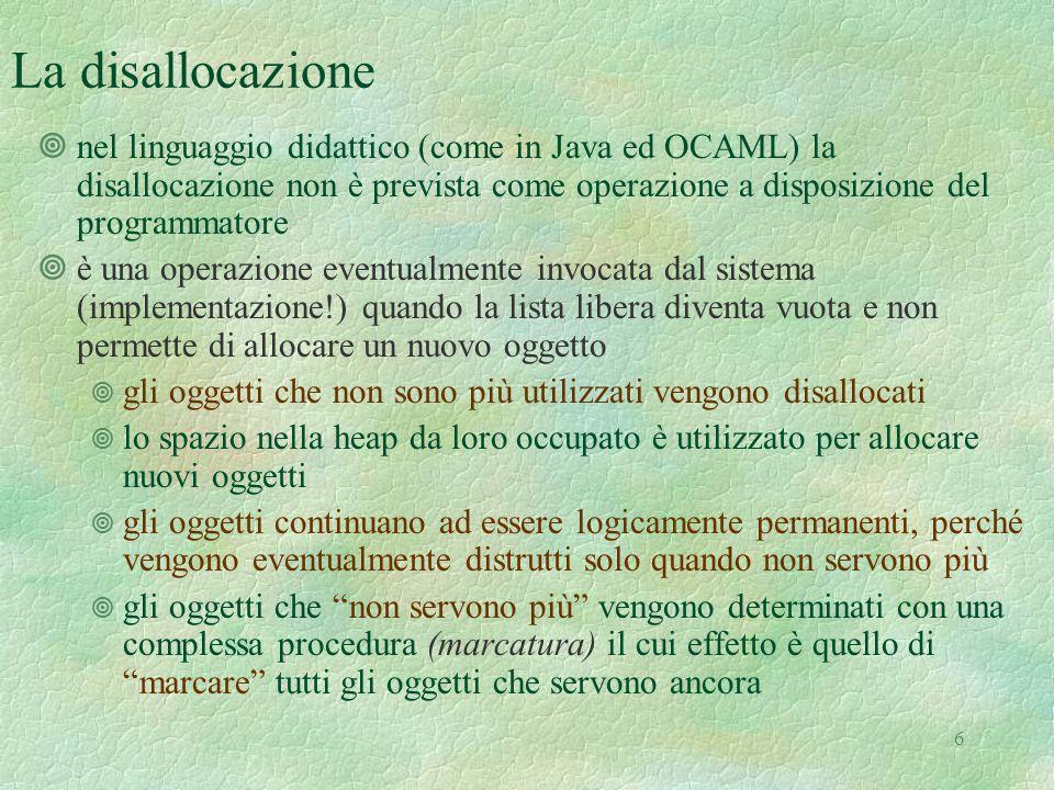 6 La disallocazione ¥nel linguaggio didattico (come in Java ed OCAML) la disallocazione non è prevista come operazione a disposizione del programmator