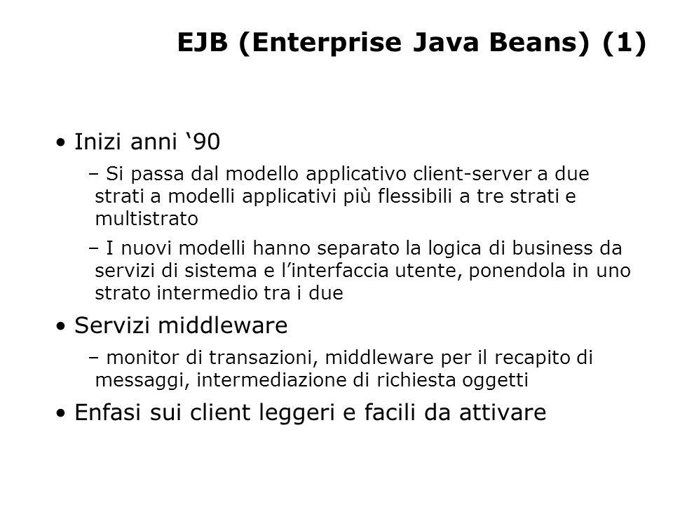 EJB (Enterprise Java Beans) (1) Inizi anni '90 – Si passa dal modello applicativo client-server a due strati a modelli applicativi più flessibili a tre strati e multistrato – I nuovi modelli hanno separato la logica di business da servizi di sistema e l'interfaccia utente, ponendola in uno strato intermedio tra i due Servizi middleware – monitor di transazioni, middleware per il recapito di messaggi, intermediazione di richiesta oggetti Enfasi sui client leggeri e facili da attivare