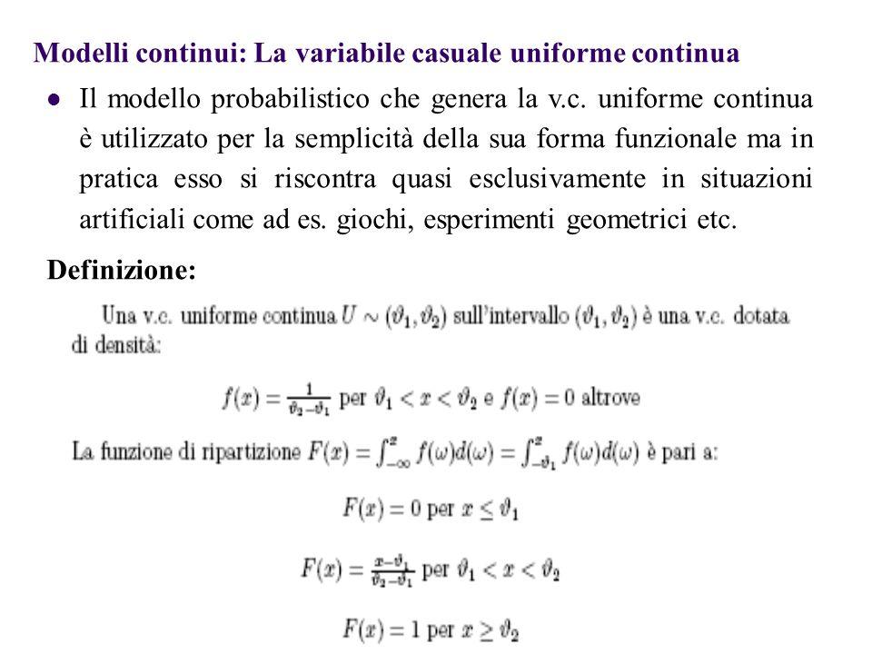 La distribuzione di Poisson L'espressione matematica della distribuzione di Poisson per il numero di eventi X, dato che il numero atteso di eventi è pari a λ è dato da Distribuzione di Poisson dove λ = numero atteso di successi nell'area di opportunità x = numero di successi per area di opportunità (x=0,1,2,…) Il valore atteso di tale v.c.