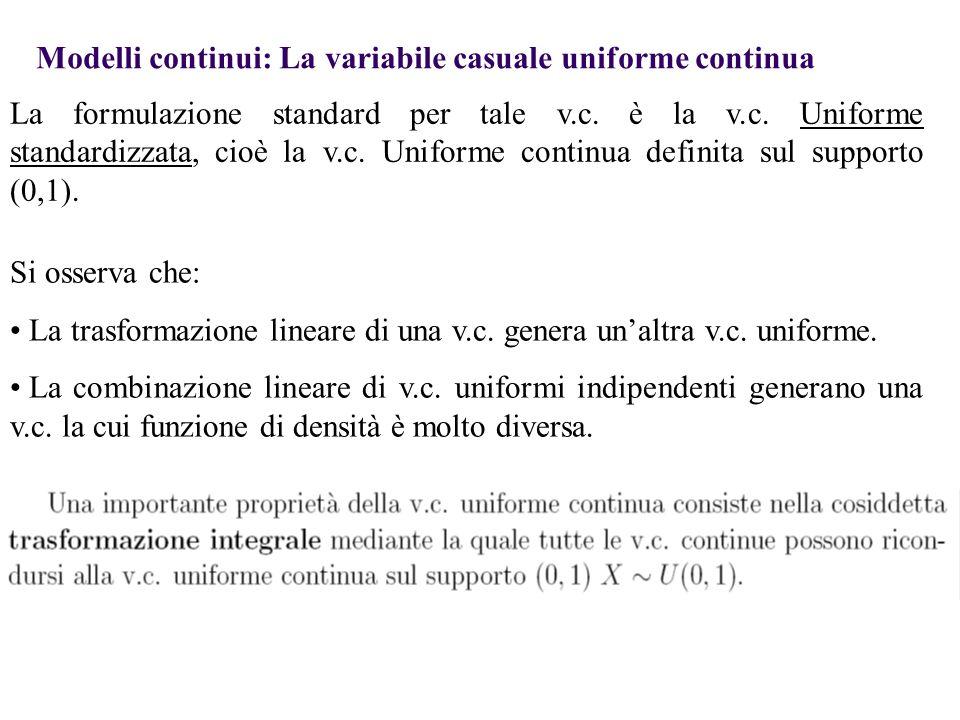 Modelli continui: La variabile casuale uniforme continua