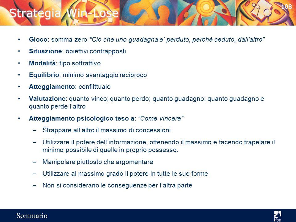 107 Sommario Strategie negoziali Ostili Amichevoli BassoAlto Potere posseduto (percezione) Intenzioni della controparte (percezione) CompromessoVinco