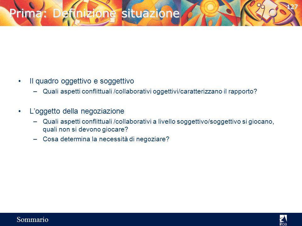 126 Sommario Il processo di negoziazione Prima 1.Definizione situazione di negoziazione Il quadro conflittuale – collaborativo della situazione L'ogge