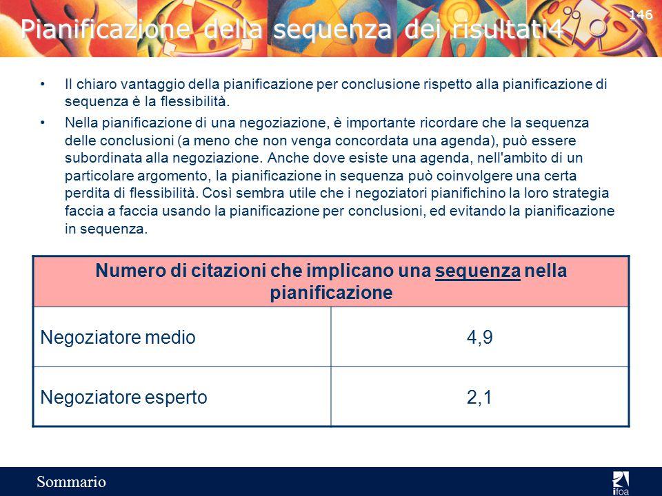 145 Sommario Pianificazione della sequenza dei risultati3 Tipica pianificazione in sequenza usata dai negoziatori medi in cui le conclusioni sono conc