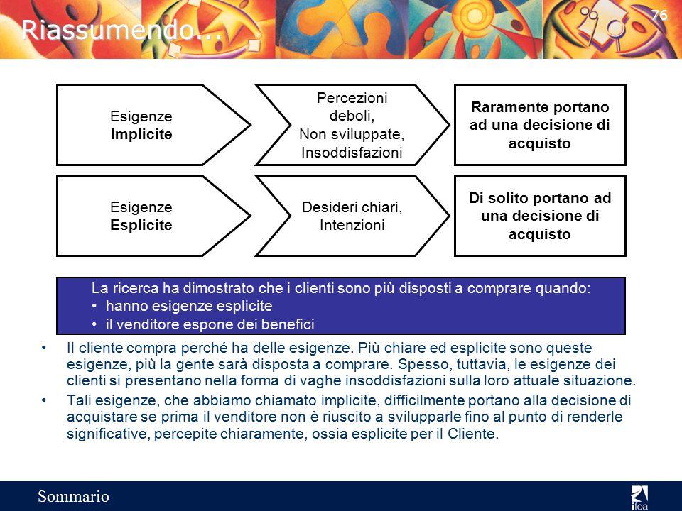75 Sommario Caratteristiche, vantaggi, benefici e esigenze Esigenza Implicita DomandaCaratteristiche Esigenza Implicita DomandaVantaggio Esigenza Impl