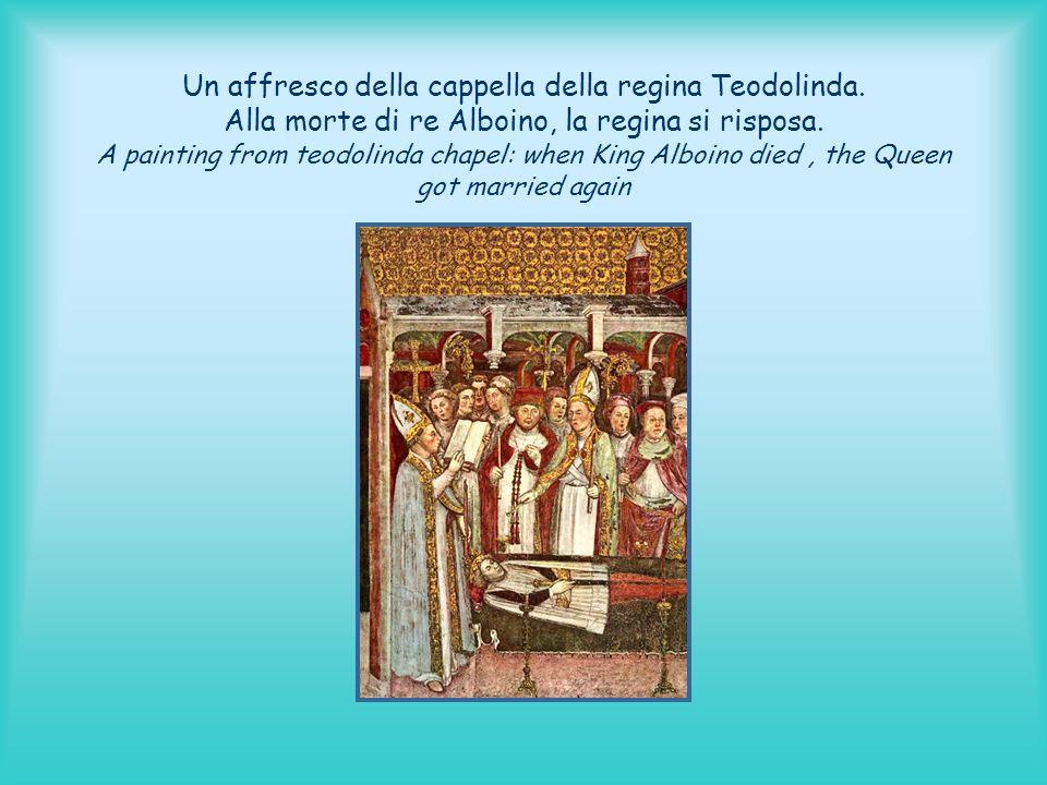 Un affresco della cappella della regina Teodolinda. Alla morte di re Alboino, la regina si risposa. A painting from teodolinda chapel: when King Alboi