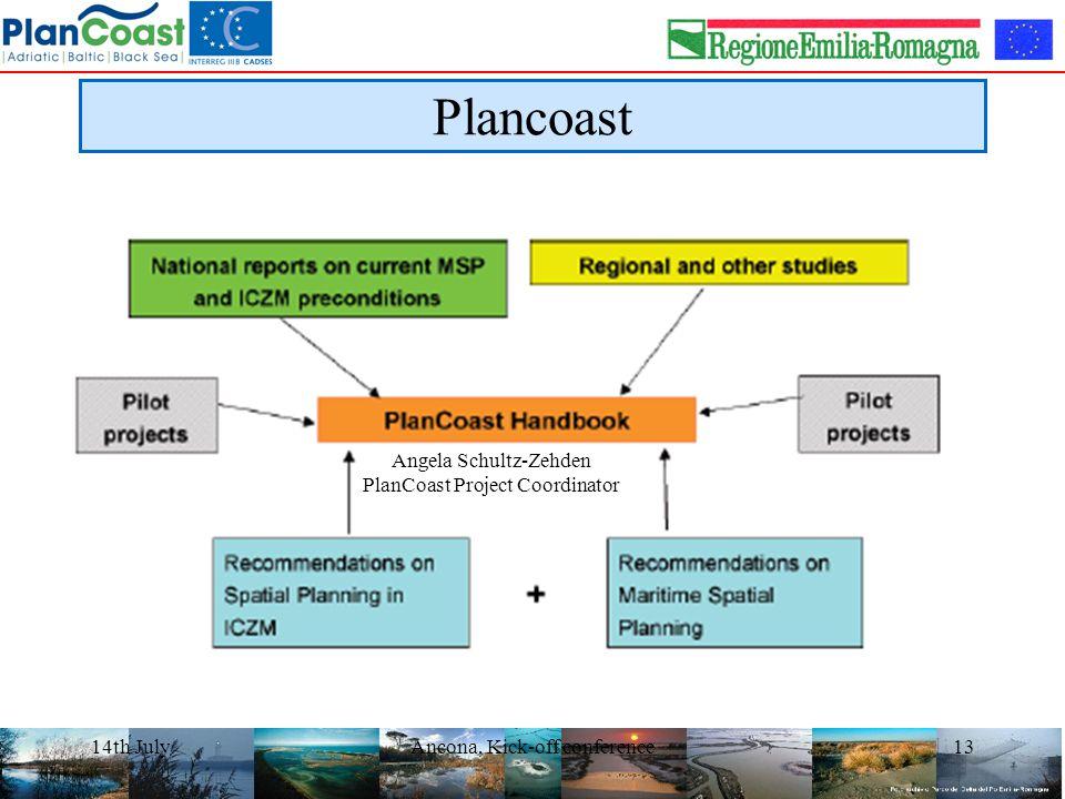 14th JulyAncona, Kick-off conference13 Plancoast Angela Schultz-Zehden PlanCoast Project Coordinator